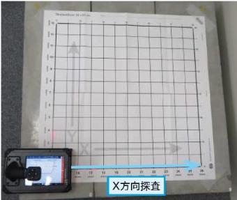 3. X方向の一つ目のラインにレーザーの向きを当てて【実行】(決定ボタン)を押し測定を開始します。