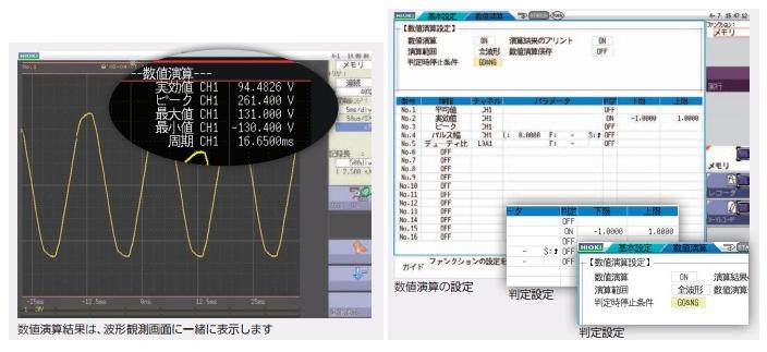 測定波形からパラメータ数値を演算