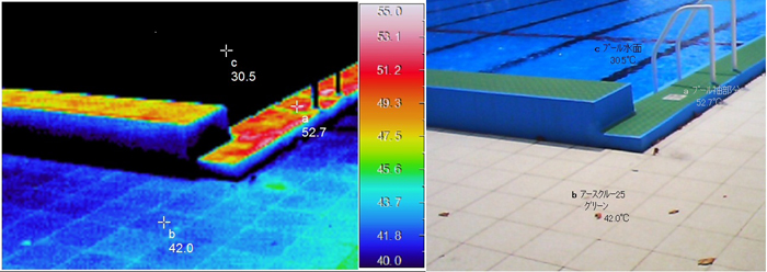 プール(材質の温度差)