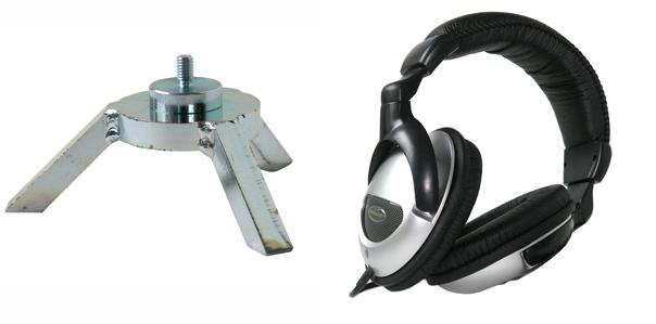 三脚式集音装置・ヘッドフォン